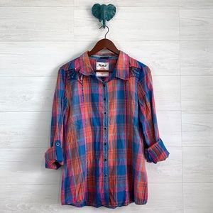 Roar Plaid Snap Button Up Embroidered Blouse Top